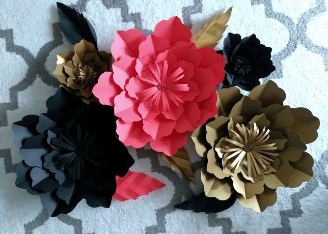 Papierowe kwiaty liście