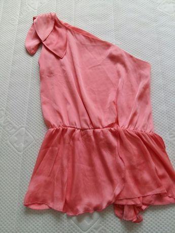 Efektowna bluzka, róż, na jedno ramie