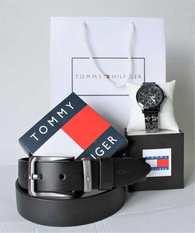 Мужской набор Tommy Hilfiger: наручные часы и кожаный ремень black