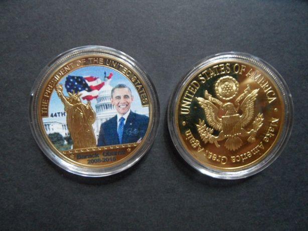 Barack Obama prezydent USA moneta pamiątkowa posrebrzana lub pozłacana
