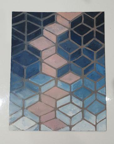 Obraz Gradientowe romby, rozmiar 30x24 cm, technika: tempera