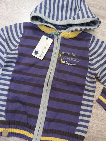 Nowa Bluza sweter z kapturem 68 paski