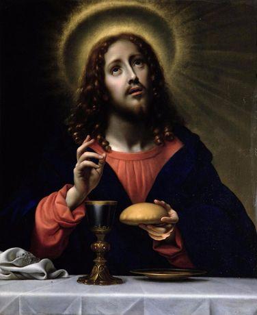 икона Иисус Христос с Святой Граалью писанна маслом на холсте