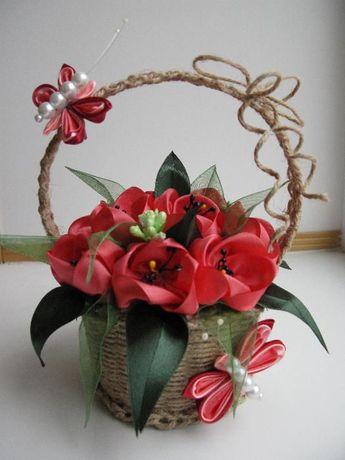 Корзинка с цветами из атласных лент