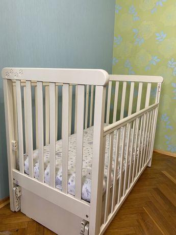 Кроватка, матрас Соня ЛД12 ЕС Верес 60х120 Слоновая кость