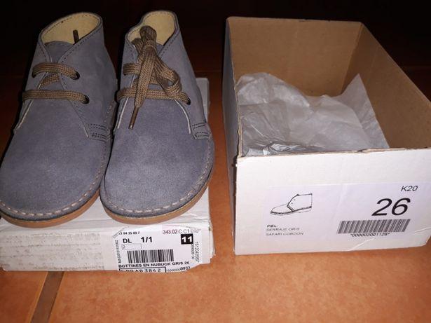 Sapatos Safari pele cinzento NOVOS - oferta dos portes