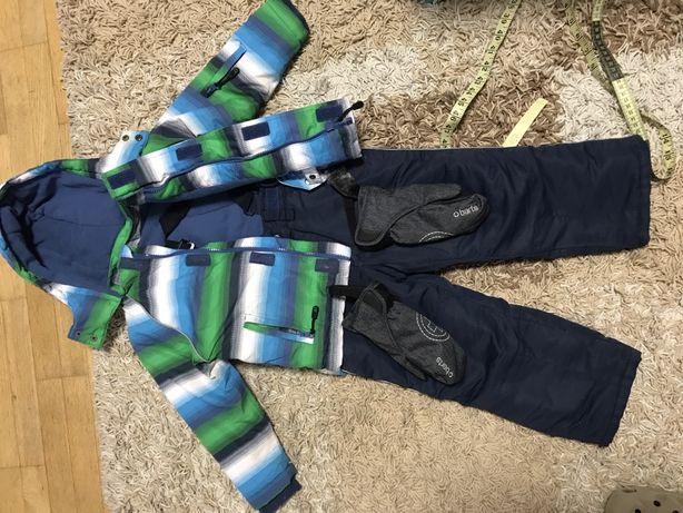 Куртка штаны теплые , варежки зимний комплект на рост 98