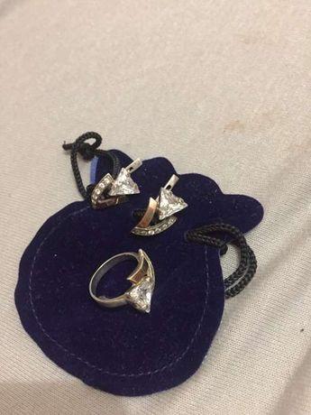Набір срібний з золотими пластинами/ набор серебряний с золотом