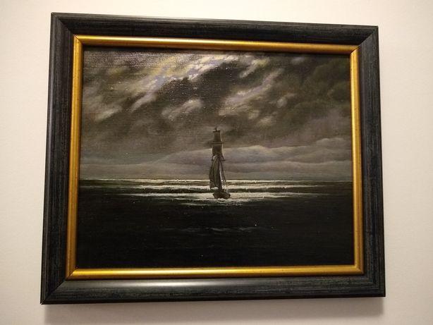 Obraz olejny na płótnie, marynistyka, sztorm, burza