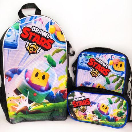 Бравл Старс - набір рюкзак, сумка та пенал зі Спраутом Brawl Stars!