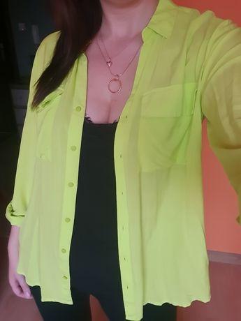 Koszula neonowa limonkowa xl