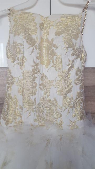 Sukienka złoto/ ecri rozm 34/XS wesele