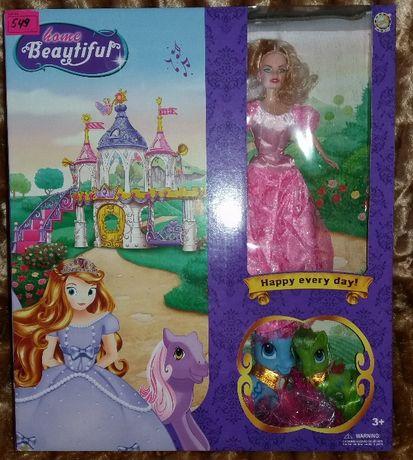 Набор для принцессы: кукла, 2 лошадки пони, замок.