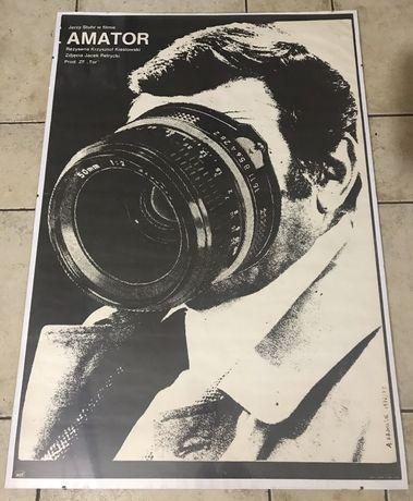 Unikatowy plakat filmowy AMATOR r. 1979 Krauze. Oryginał ! Na prezent.
