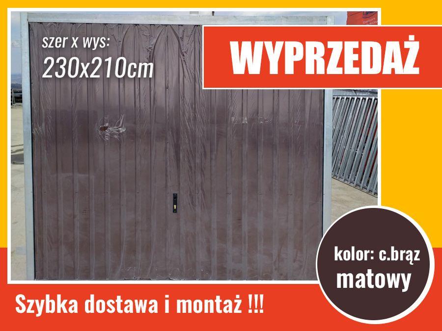 Brama garażowa uchylna 230x210cm w kolorze c.brąz - OD PRODUCENTA