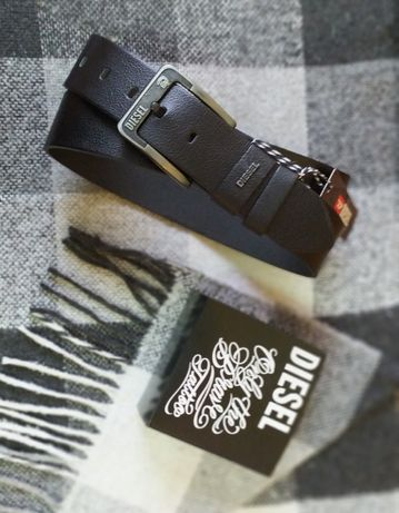 Широкий мужской пояс ремень натуральная кожа Diesel под джинсы