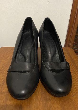 Женские туфли натуральная кожа чёрные