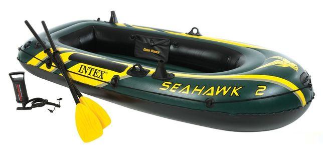 Двухместная надувная лодка Intex с веслами и насосом