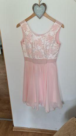 Sukienka elegancka księżniczka S pudrowy roz jak NOWA