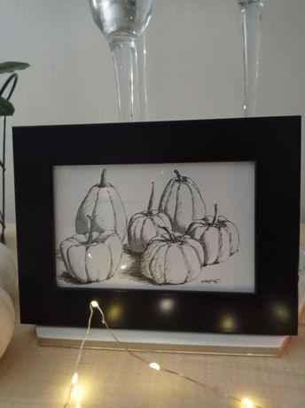 Obrazek jesienny biało czarny