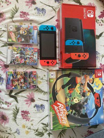 NINTENDO SWITCH+Super Smash Bros+Ring Fit Adventure+Mario Kart 8