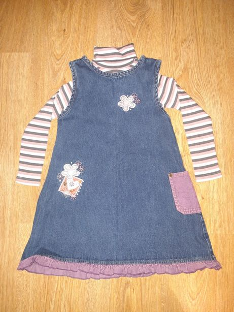 Zestaw sukienka jeansowa + golf + bluzka Trolle + 3 sukienki, rozm.110