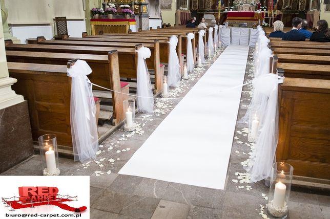 Biały dywan chodnik ślub Premium podkład guma