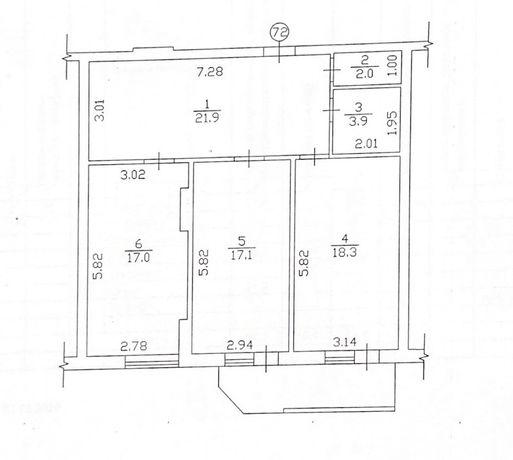 Продаю 2к квартиру 85.8 кв. м, ул. Пилипа Орлика 26 в Центр г. Полтава