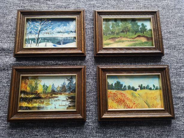 Obrazki ręcznie malowane, cztery pory roku