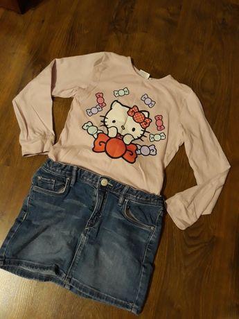 Zestaw ubranka dla dziewczynki spódniczka h&m bluzeczka hello kity