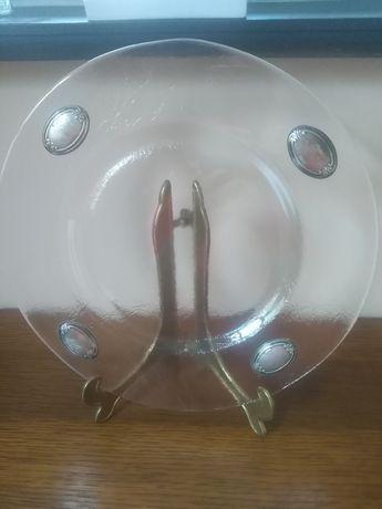 Talerz szklany patera szkło i srebro