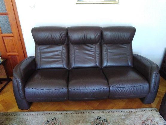 Dwie sofy + fotel skóra
