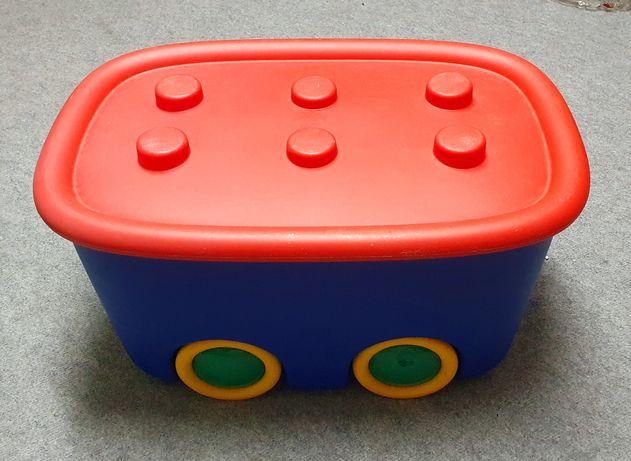 Duża skrzynia na zabawki na kółkach- wagon na klocki