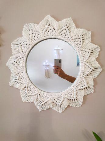 Duże lustro boho handmade makrama średnica 48 cm