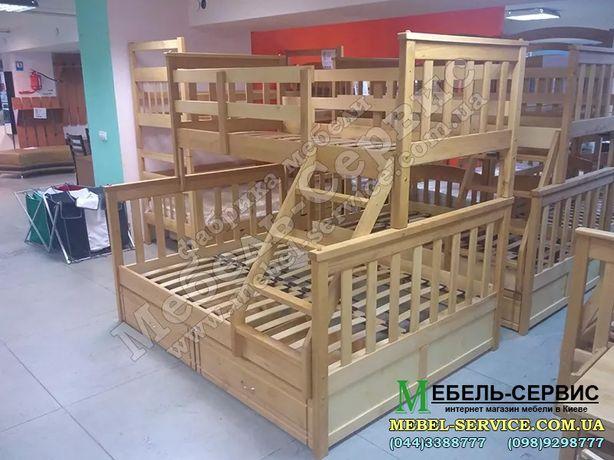 Кровать дерево Бук, трёхместная двухъярусная