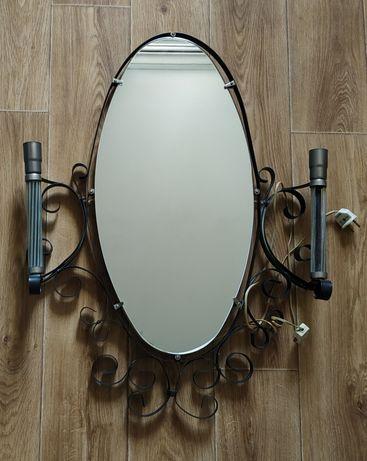 Зеркало овальное с декоративной ковкой с подсветкой в прихожую