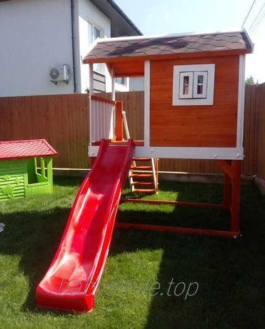 Дитячий дерев'яний будиночок з гіркою 220 см