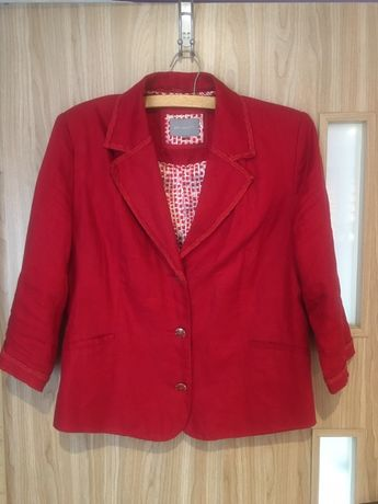 Śluczny czerwony żakiet Per Una Len 100%