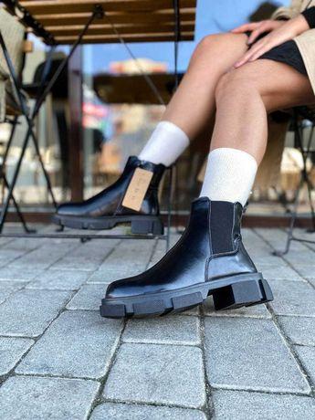 100% Кожа! Ботинки женские демосезонные Черные кожанные Жіночі