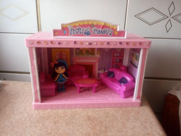 Domek dla lalek salon / modułowy domek z lalką i mebelkami
