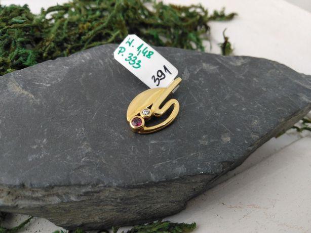 Złoty wisiorek z białym i czerwonym kamieniem,  złoto 333