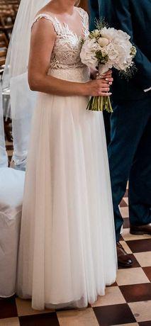 Sprzedam śliczną suknię ślubną. Gratis welon i ozdoba do włosów