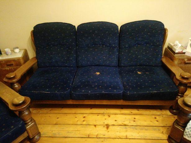 Komplet dębowy, kanapa + dwa fotele do renowacji