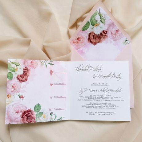 Zaproszenia ślubne KWIATY RÓŻ piwonie i róże