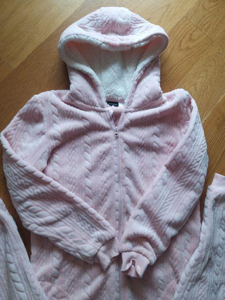 Pajac Piżamka Damska Piżama Esmara Polar Pudrowy Róż M L XL