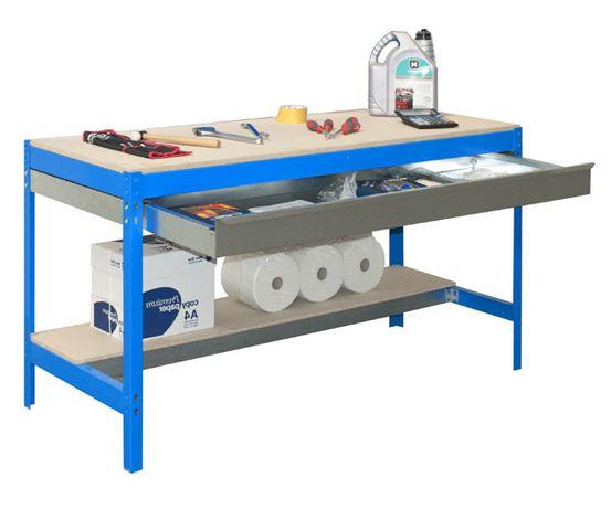Bancada de Trabalho BT0 BOX 840x1200x750 Azul Tampo de Madeira