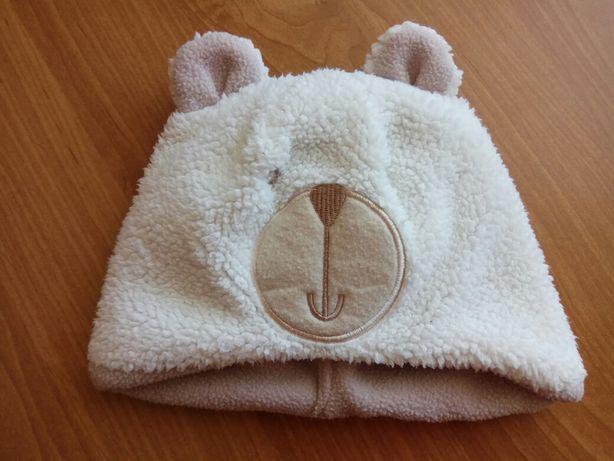 Ciepła zimowa czapka z misiem tu rozmiar 74 (6-12 miesięcy) z uszkami