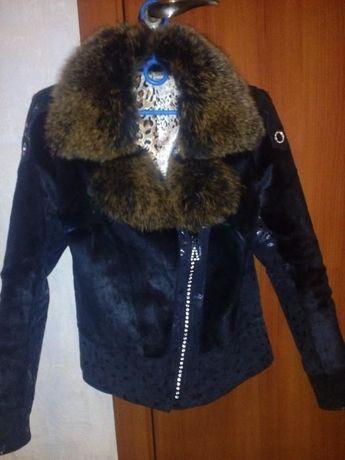 Демисезонная куртка, шубка мангуст + писец, кожа