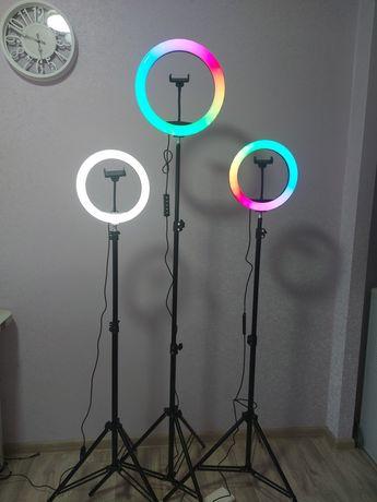 Кольцевая лампа RGB и штатив 210см, кольцевой свет, селфи