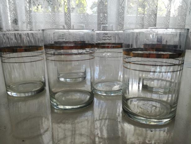Komplet: 6 szt szklanek ze złoceniem PRL